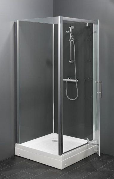 Trento basic BW vierkante rondom gesloten douchecabine met een draaideur leverbaar in 80x80 cm of 90x90 cm