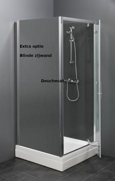 Rondom gesloten douchecabine met 3 grijze niet doorzichtige achterwanden