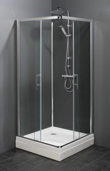 rondom gesloten douchecabine met hoekinstap schuifdeuren