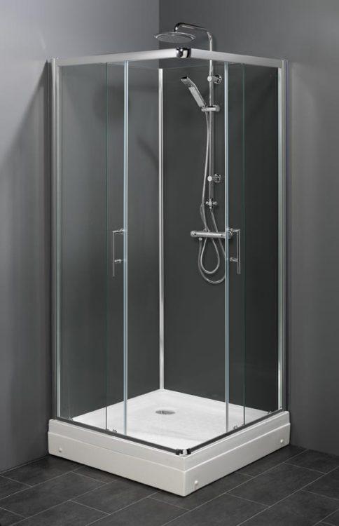 Trento LG (grijs) gesloten douchecabine met schuifdeuren en thermostaatkraan