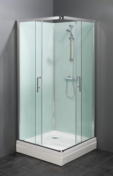 Vierkant model rondom gesloten douchecabine met niet doorzichtige achterwanden