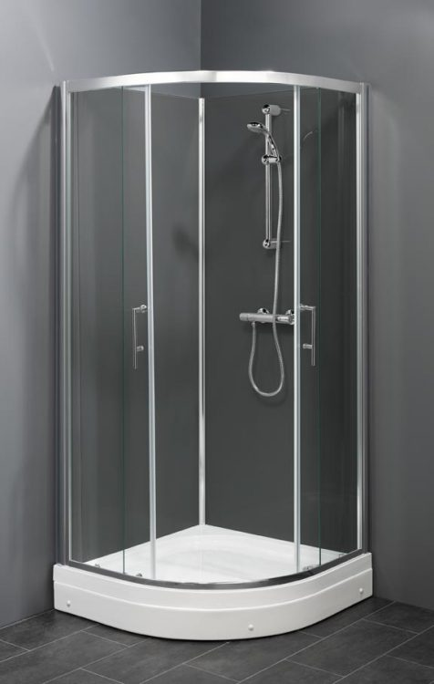 Trento SG (grijs) gesloten douchecabine met schuifdeuren en thermostaatkraan
