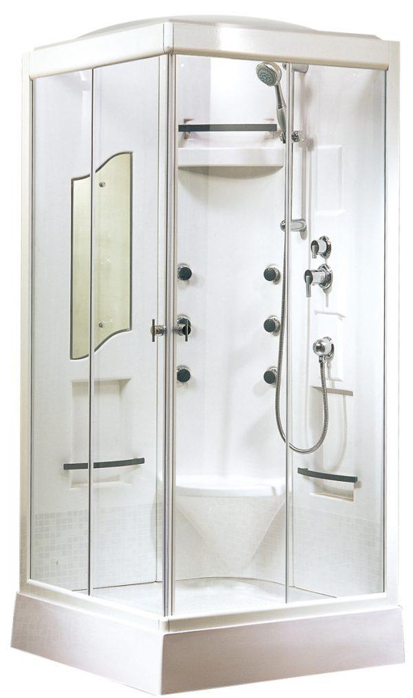 Vierkante rondom gesloten douchecabine met een dakje