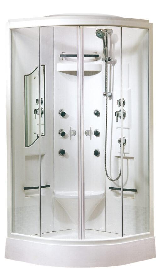 gesloten douchecabine met dakje incl. waterstralen en thermostaatkraan