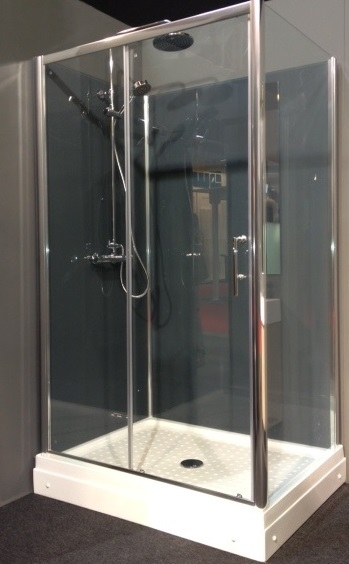 Trento RW.G (grijs) gesloten douchecabine met schuifdeur en thermostaatkraan