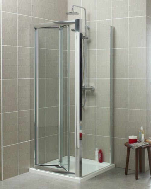 Trento douchecabine met vouwdeur en vaste zijwand
