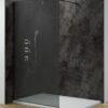 inloopdouche smoked donkerglas met zwarte muurprofielen