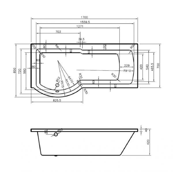 Technische tekening van douchebad Rondo