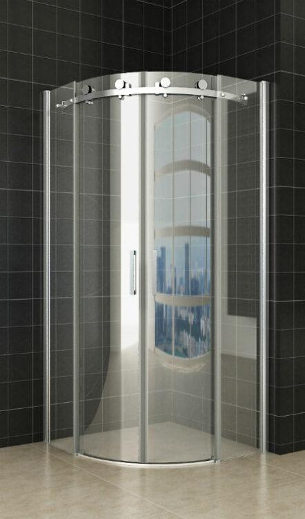 Kwartronde design douchecabine + RVS raamwisser