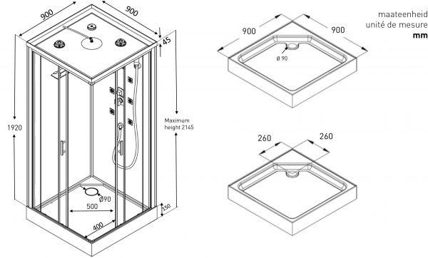 Technische tekening voor douchecabine met dakje