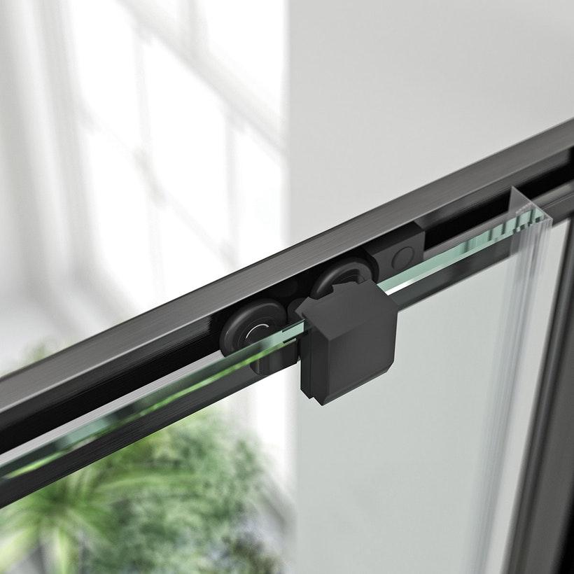 Douchedeur zwart profiel boven met dubbele geleiders