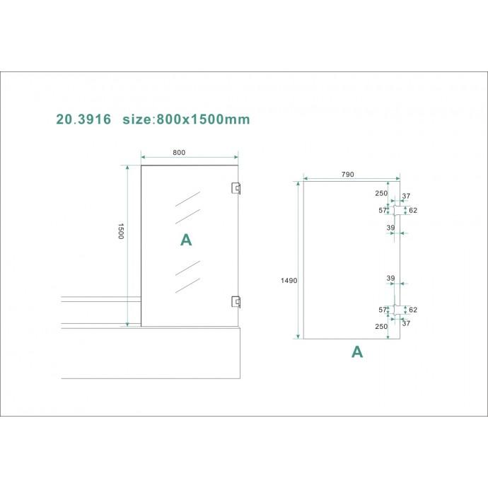 Technische tekening van de profielloze badwand