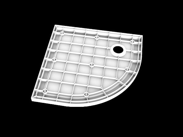 Onderkant van een smc douchebak kwartrond model