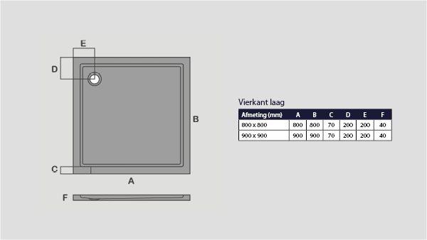 technische tekening SMC douchebak vierkant laag model