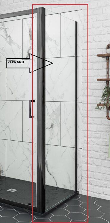 Extra zijwand met  mat zwarte profielen voor U-vorm opstelling