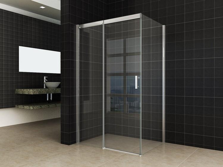 Softclose douche deur met zijwand rvs raamwisser douchecabine