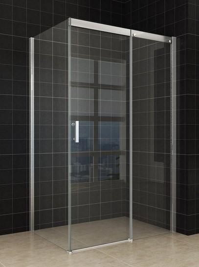 Softclose douche deur met zijwand + RVS raamwisser