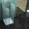 U-Vorm douchecabine met een glas hoogte van 180 cm.