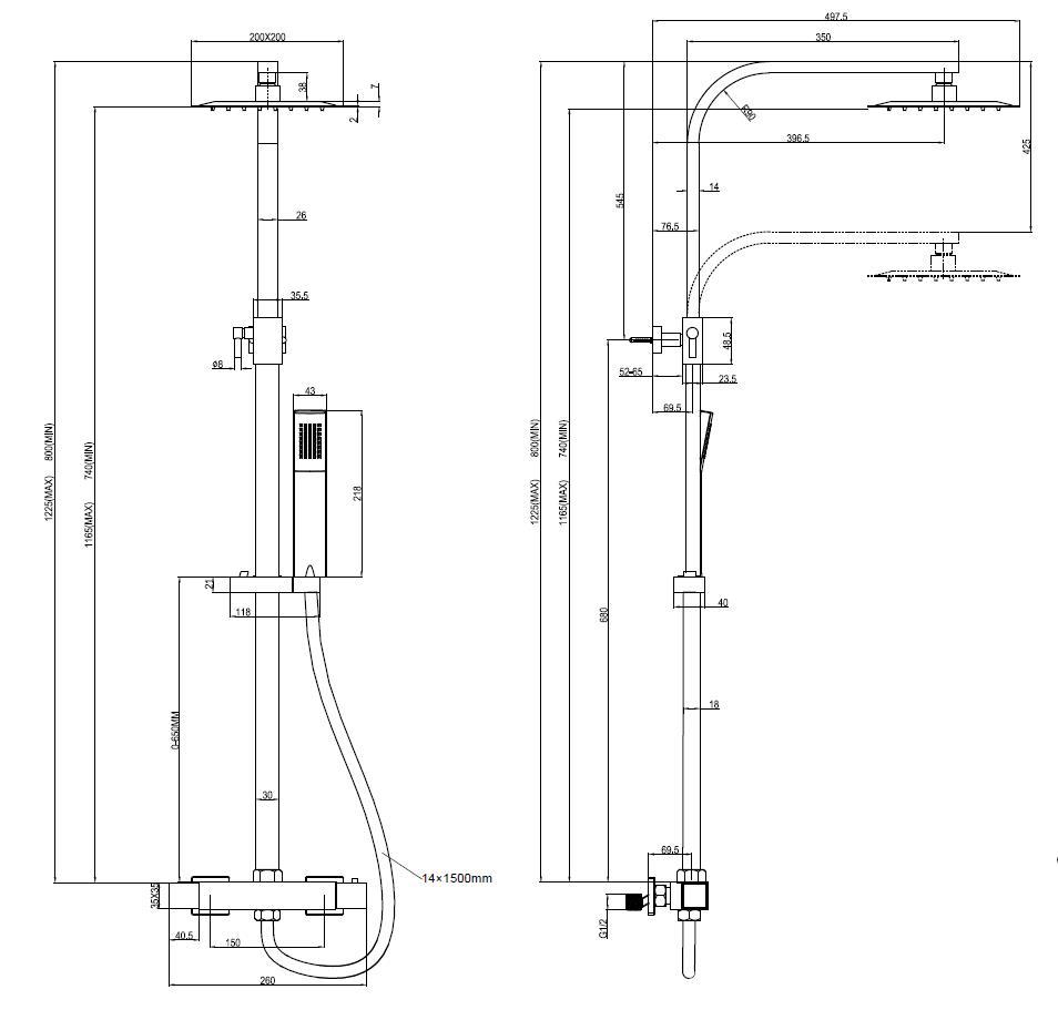 technische tekening van de regendoucheset DD.20