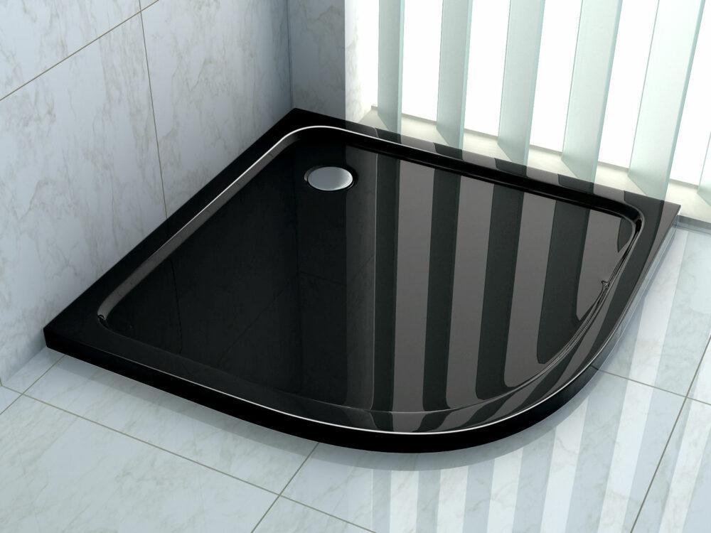 Kwartronde Hoogglans zwarte douchebak leverbaar in 80x80 of 90x90 of 100x 100 cm