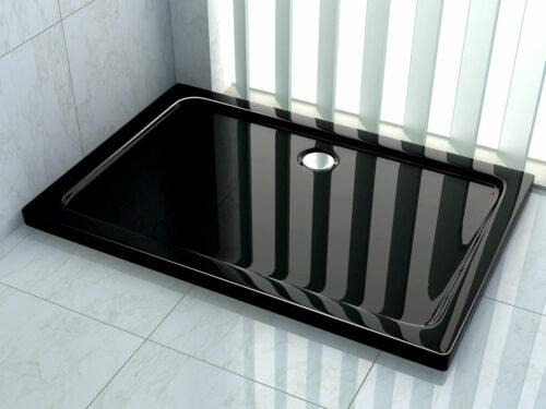Hoogglans zwarte douchebak rechthoek model