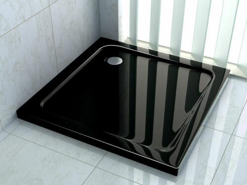 Hoogglans zwarte douchebak vierkant model