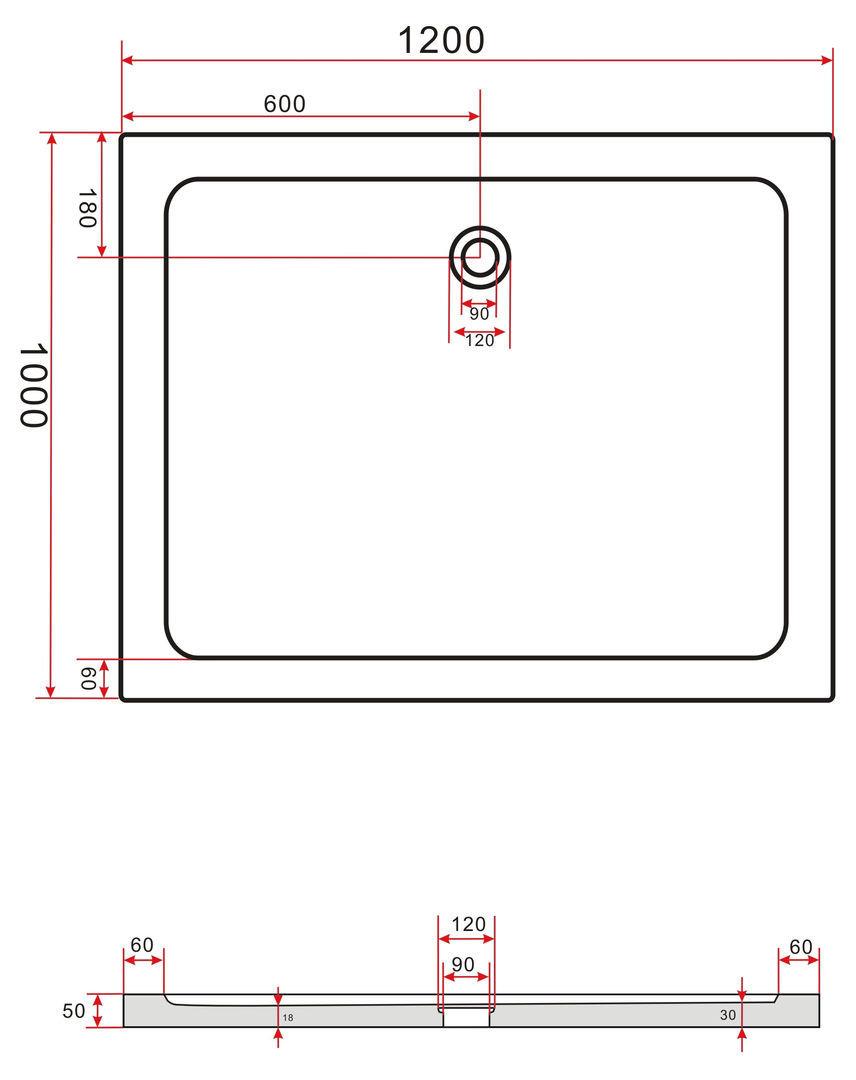 Hoogglans rechthoekige opbouw douchebak