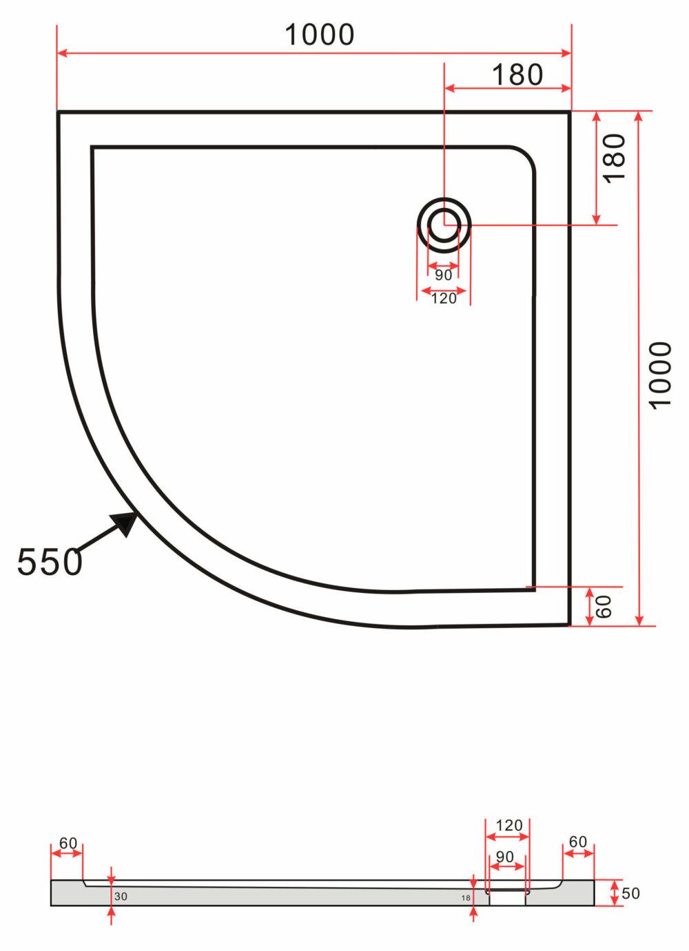 Technische tekening van de Hoogglans zwarte douchebak 100 x 100 cm