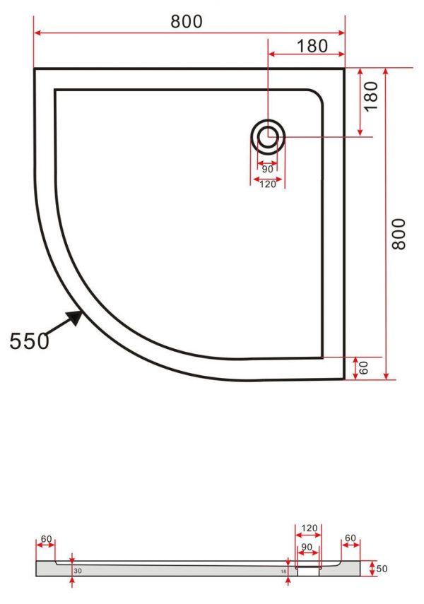 Technische tekening van de Hoogglans zwarte douchebak 80 x 80 cm