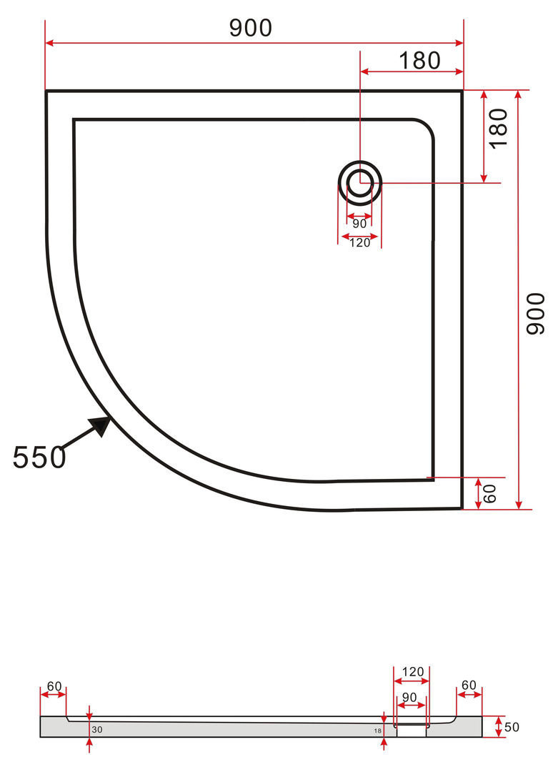 Technische tekening van de Hoogglans zwarte douchebak 90 x 90 cm