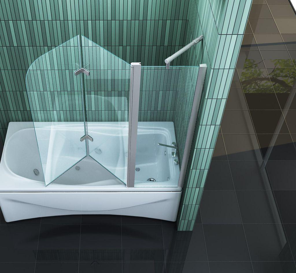 badwand 1 vast deel 2 vouwbare delen 150 x 140 cm. Black Bedroom Furniture Sets. Home Design Ideas