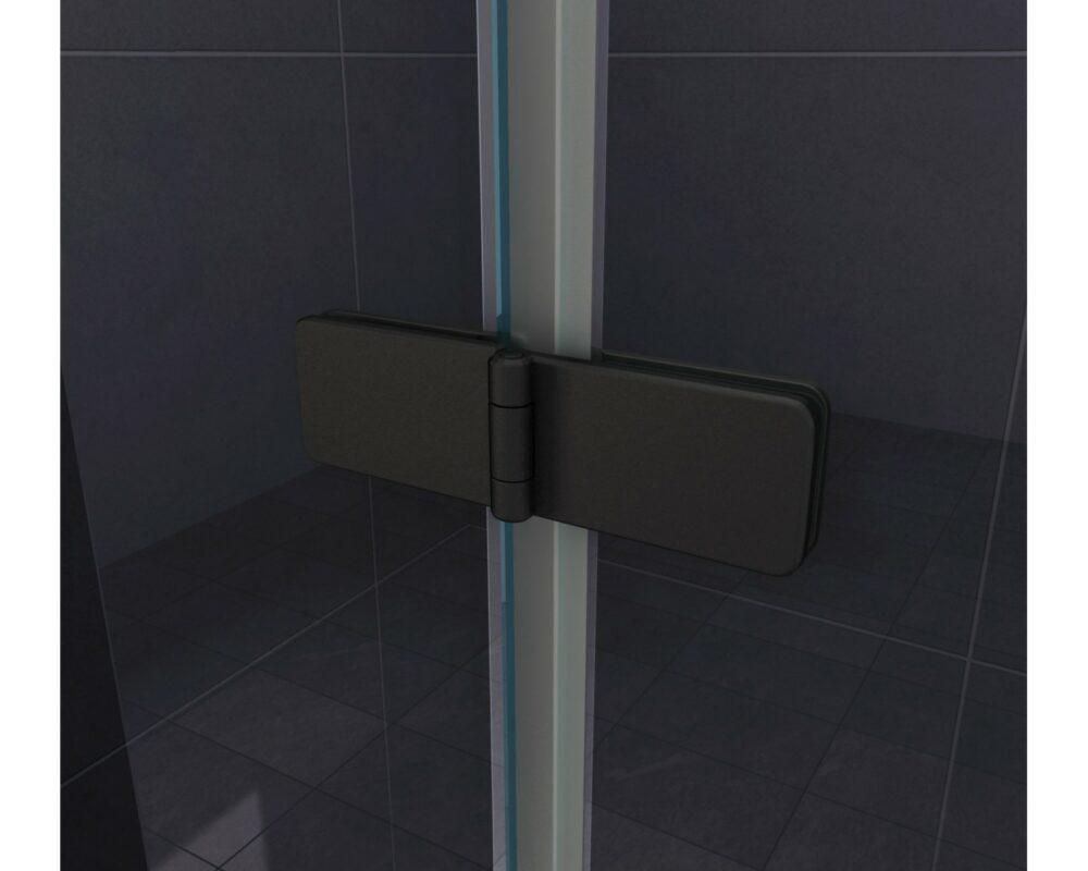 Badwand met mat zwarte profielen