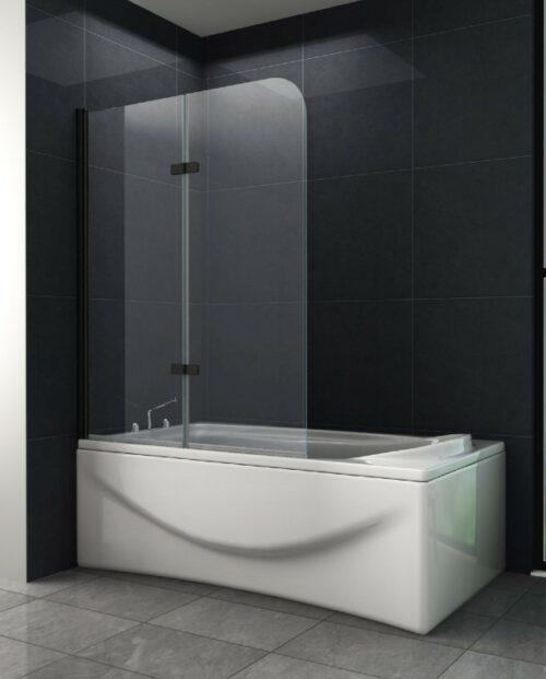 Mat zwarte badwand 2-delig draaibaar 120 x 140 cm