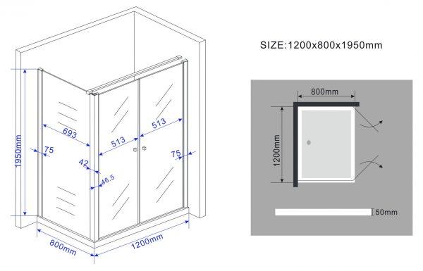 Technische tekening pendeldeuren
