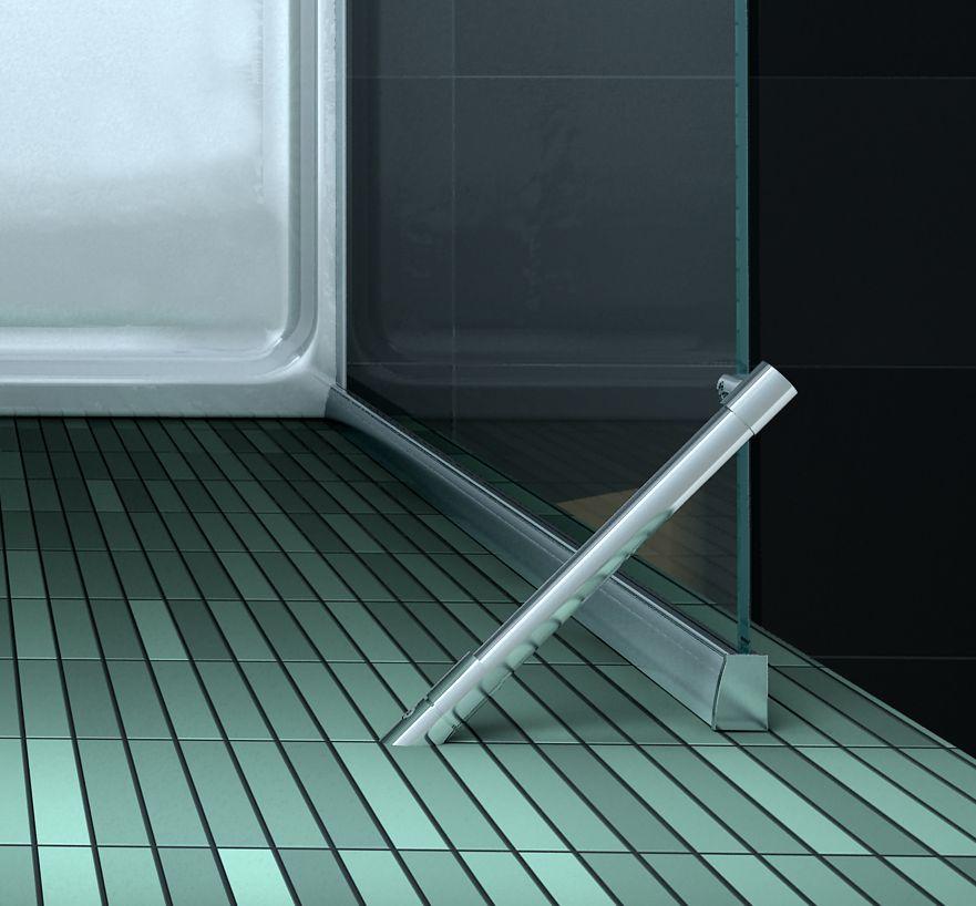 Douchecabine hoekinstap matte glasstrook