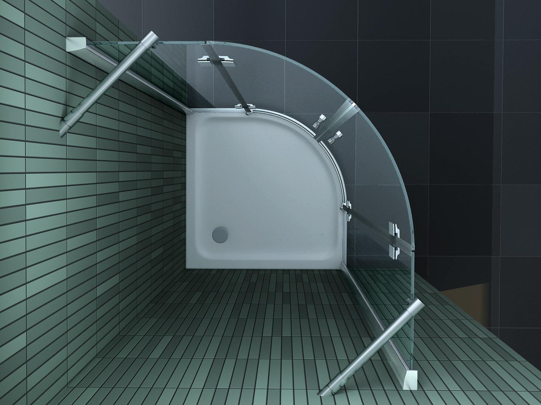 Kwartronde douchecabine met een beperkte hoogte van cm