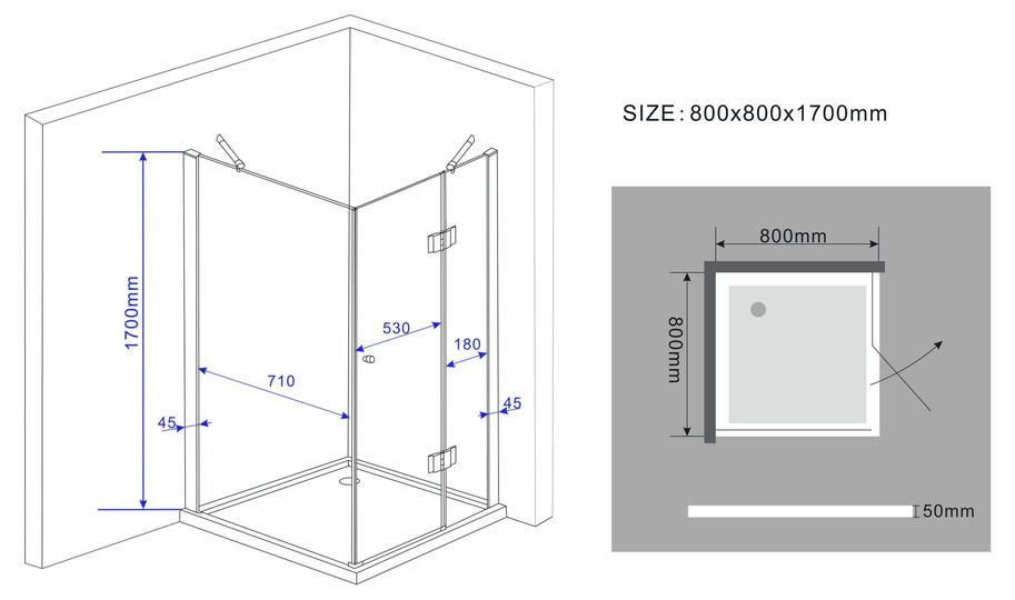 Vierkante douchecabine hoogte 170 cm