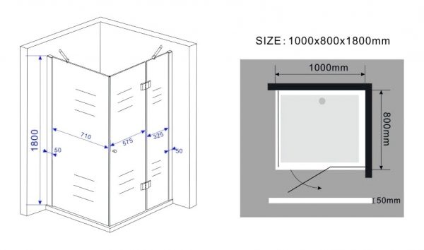 Vierkante douchecabine hoogte 180 cm