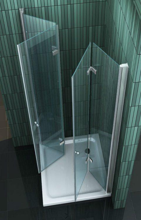 Vierkante douchecabine met 2 inklapbare vouwdeuren