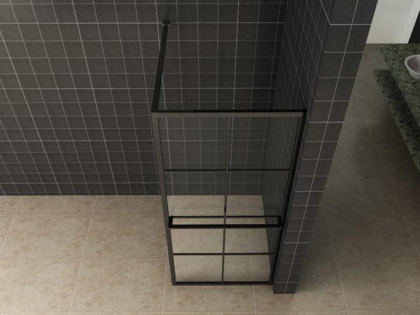 inloopdouche mat zwart raster