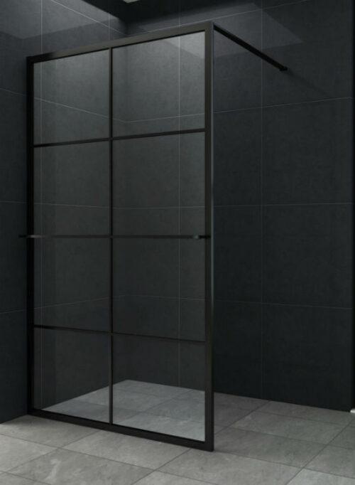 10 mm. Inloopdouche mat zwart raster + handdoek houder