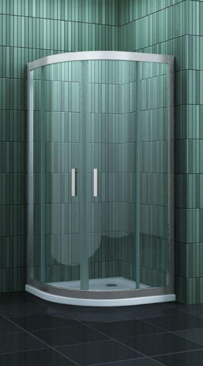 Kwartronde douchecabine met schuifdeuren 80-90 cm