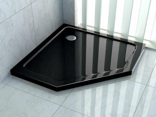 Hoogglans zwarte douchebak vijfhoek model 90 cm – 100 cm