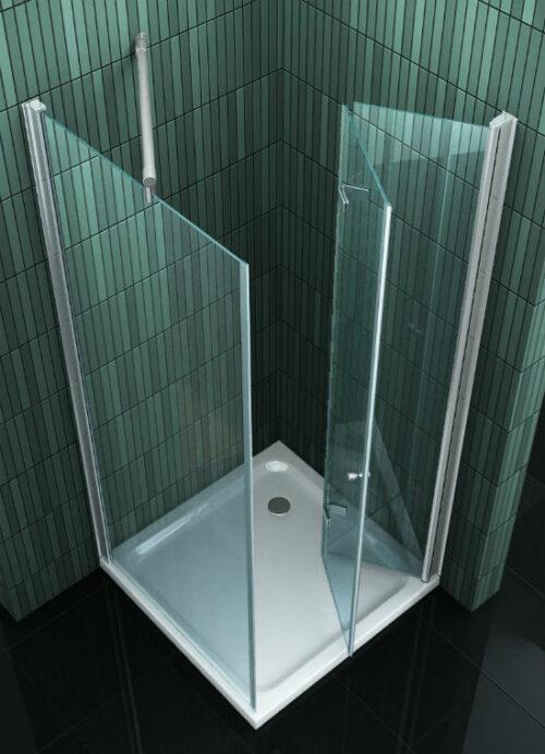 Vierkante douchecabine met vouwdeur en zijwand