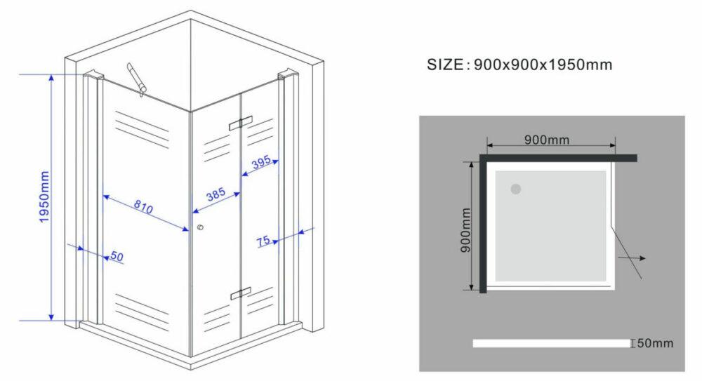 tekening zijwand met vouwdeur