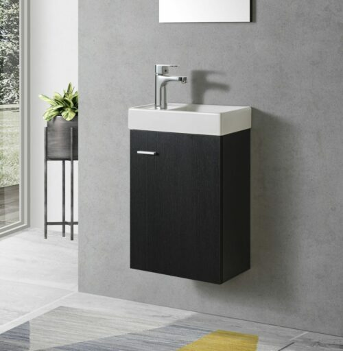 Zwart Toiletmeubel met keramiek wasbak