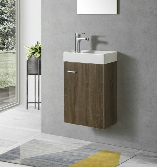 Toiletmeubel (kleur noten) met keramiek wasbak