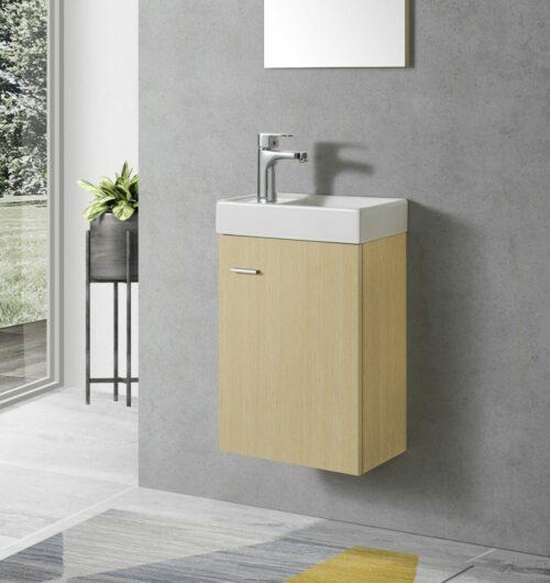 Toiletmeubel (kleur eiken) met keramiek wasbak