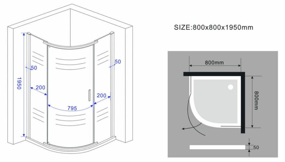 Maatvoeringen kwartronde douchecabine met één draaideur