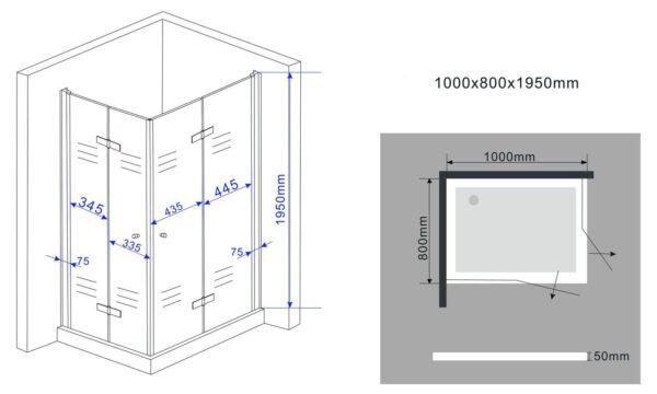 Afmetingen douchecabine met vouwdeuren